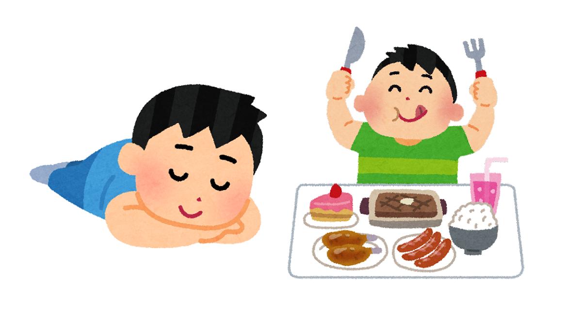 太るために関係が深い、寝ることと食べること