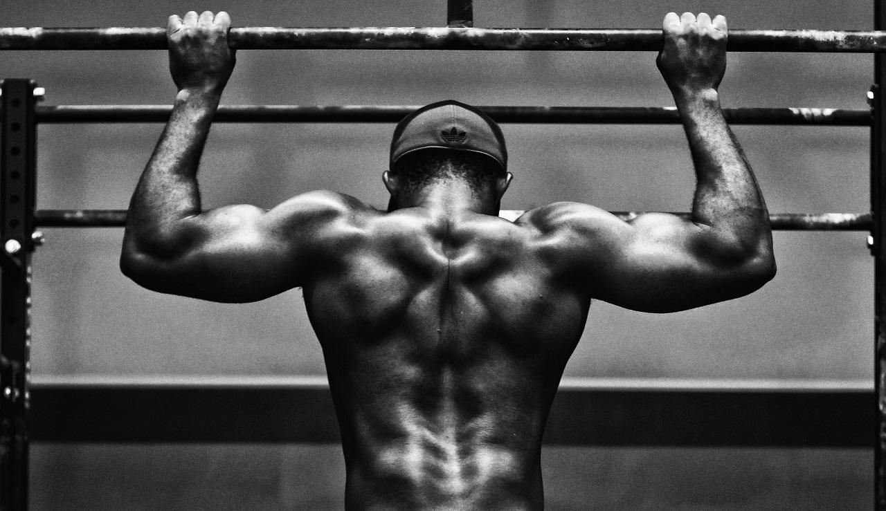 懸垂で鍛えると背中の筋肉がついて良い姿勢を保てるようになる。