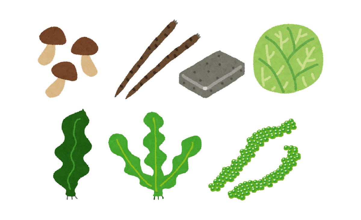 野菜や海藻類・きのこなど、多種の新鮮な食材の栄養を摂りましょう。